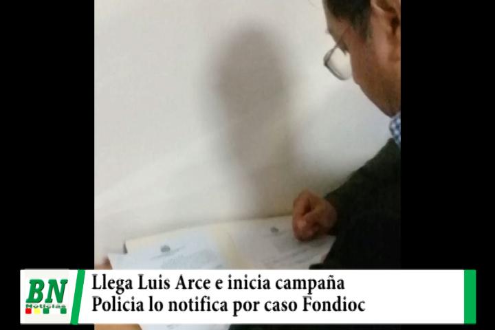 Lee más sobre el artículo Luis Arce llega e inicia campaña con el MAS y policía lo notifica por caso Fondioc