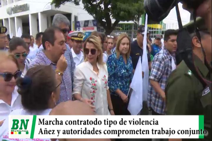 Lee más sobre el artículo Realizaron marcha contra todo tipo de violencia y presidente Añez y otras autoridades comprometen trabajo conjunto
