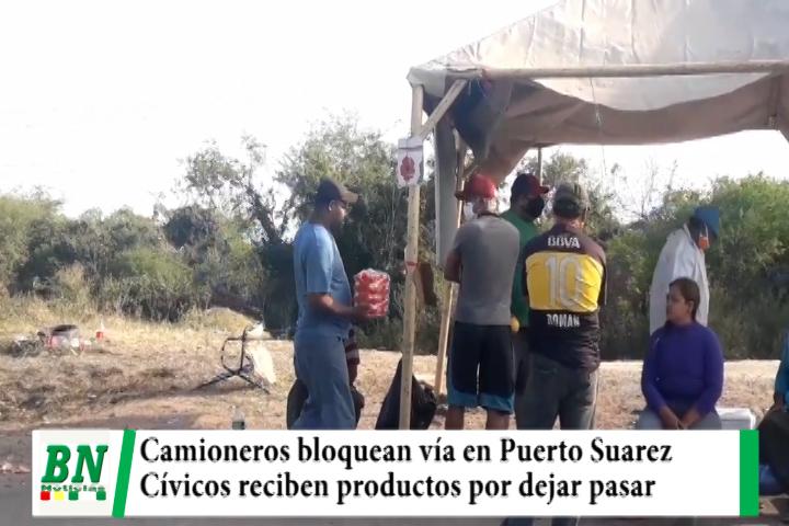 Lee más sobre el artículo Chofer denuncia que son amenazados y camión fue dañado, en bloqueo en Puerto Suarez dejan pasar a otros