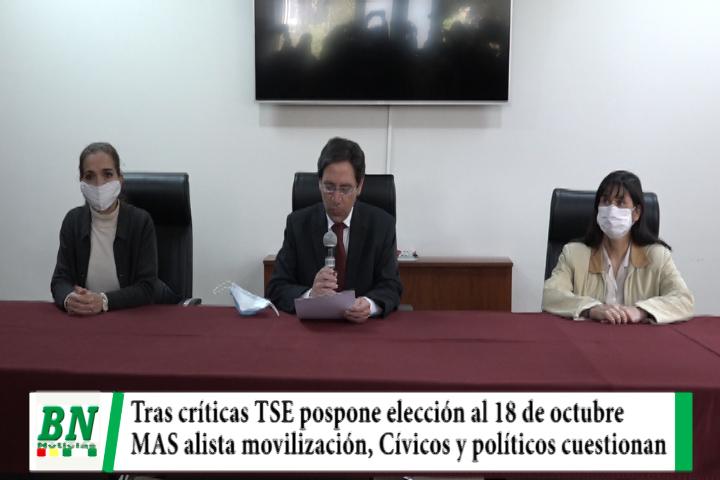 Lee más sobre el artículo Elección 2020, TSE aplaza proceso al 18 de octubre y el MAS alista movilización, políticos y cívicos rechazan fecha