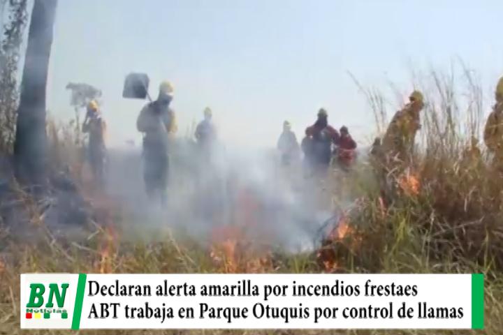 Lee más sobre el artículo Alerta amarilla por incendios forestales y la ABT y bomberos trabajan por control de fuego en Parque Otuquis