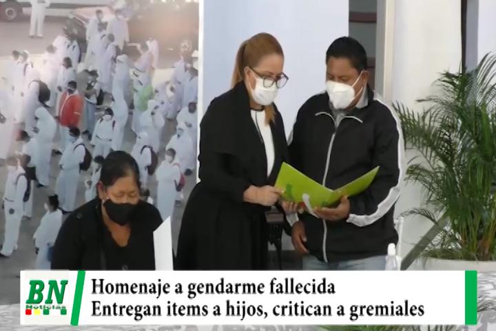 Lee más sobre el artículo Alcaldia rinde homenaje a Gendarme fallecida y entrega items a sus hijos, Sosa critica a gremiales