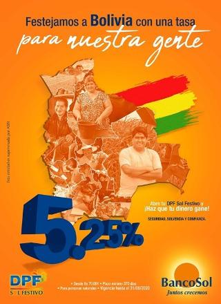 Lee más sobre el artículo En el mes de Bolivia, DPF Sol Festivo pagael 5,25 % de interés a sus ahorristas