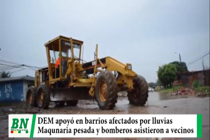 Lee más sobre el artículo DEM asistió a vecinos de los barrios afectados por lluvia, bomberos y equipos pesados en trabajos