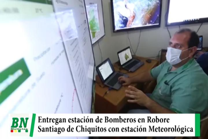 Lee más sobre el artículo Costas entrega estación de Bomberos en Robore y estación de meteorología a Santiago de Chiquitos