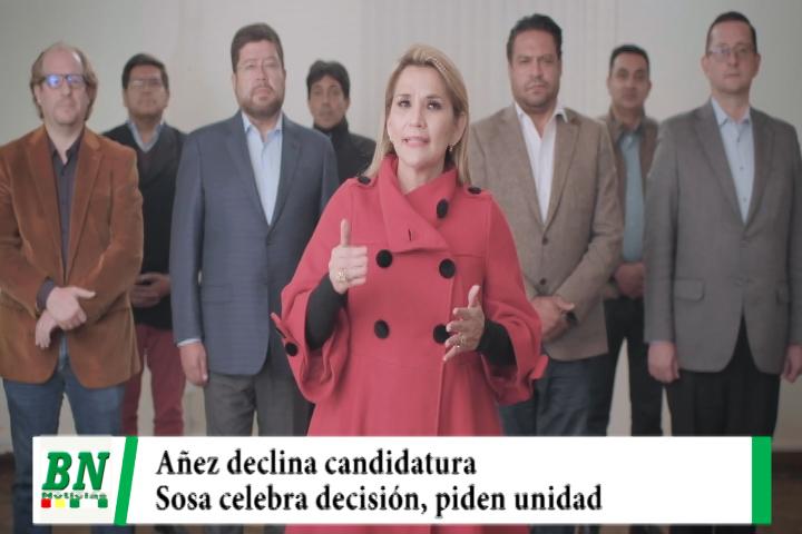 Lee más sobre el artículo Elección 2020,  Jeanine Añez declina a su candidatura y llama a la unidad, Sosa celebra decisión