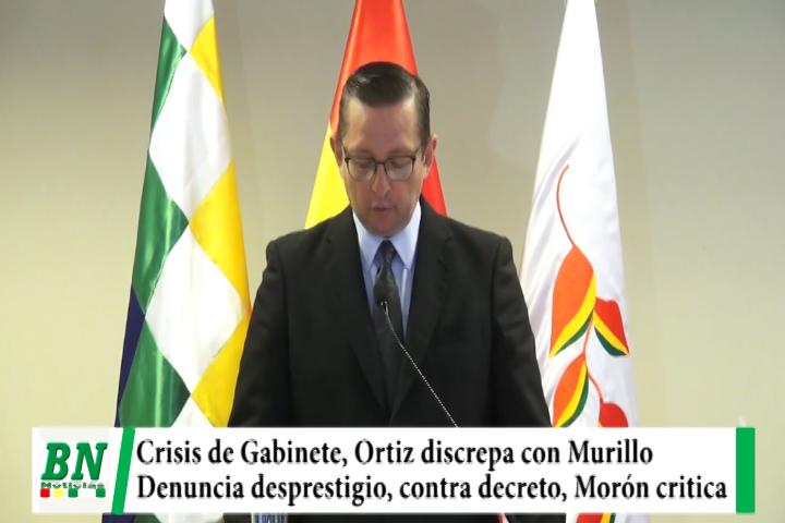Lee más sobre el artículo Crisis de Gabinete con alejamientos, Ortiz discrepa con Murillo por decretos y denuncia desprestigio, Morón critica