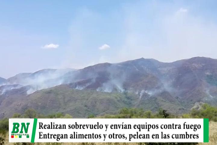 Lee más sobre el artículo Realizan sobrevuelo en zonas con incendios y envían equipos, bomberos en montañas mientras donan alimentos y otros