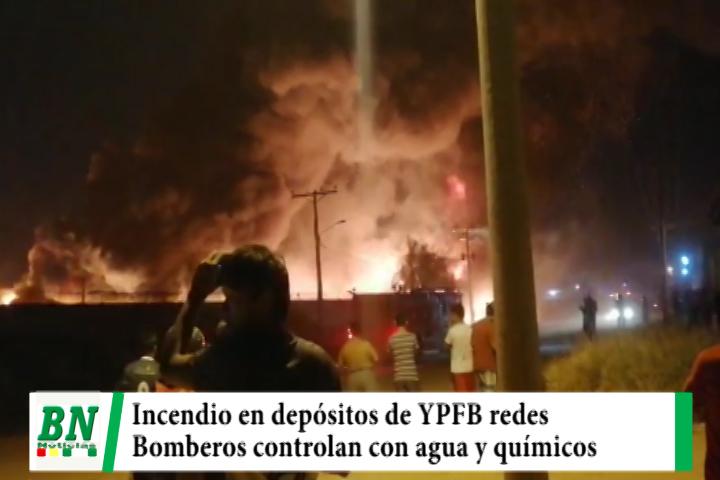 Lee más sobre el artículo Depósito de YPFB redes se incendia en el Parque Industrial y bomberos logra controlar las llamas