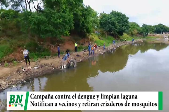 Lee más sobre el artículo Campaña contra el dengue con limpieza de laguna y notificación a vecinos, retiran criaderos de mosquitos