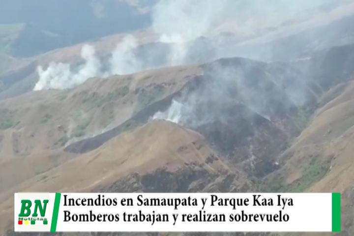 Lee más sobre el artículo Registran dos incendios y bomberos trabajan en Samaipata y Parque Kaa Iya, sobrevuelan y coordinan acciones