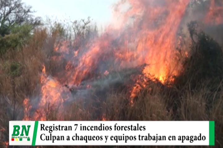 Lee más sobre el artículo Registran 7 incendios forestales y culpan a chaqueos mientras envían equipos a apagar fuego