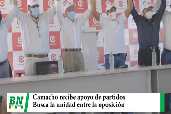 Lee más sobre el artículo Campàña Creemos 2021, Camacho recibe apoyo de varios partidos políticos y asegura unidad y nuevo proyecto