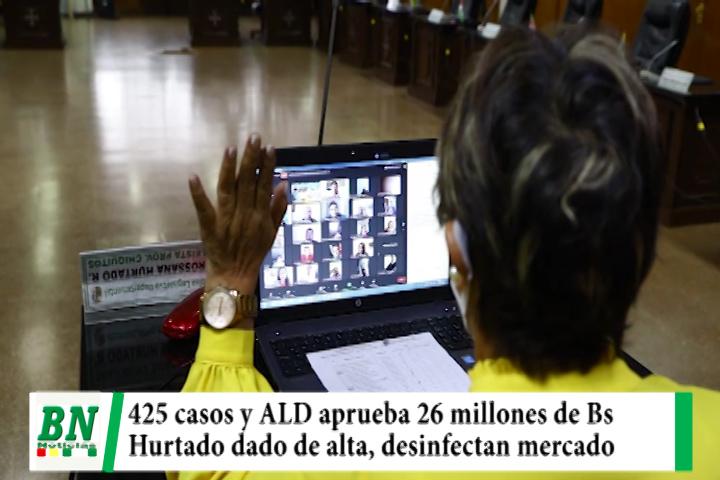 Lee más sobre el artículo Alerta coronavirus, 425 casos y ALD aprueba 26 millones de Bs, Hurtado de alta, desinfectan mercado