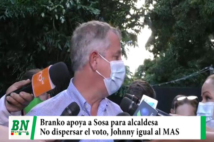 Lee más sobre el artículo Campaña Santa Cruz para todos 2021, Branko apoya a Sosa y cree que Johnny es igual al MAS