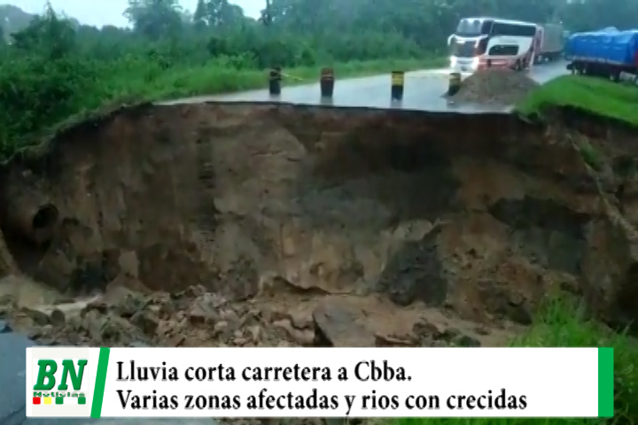 Lee más sobre el artículo Lluvia daña carretera a Cbba, y autoridades evalúan, Norte con inundación y ríos con crecidas, pérdidas exportación