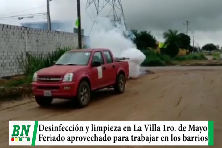 Lee más sobre el artículo Feriado es aprovechado para desinfectar y realizar limpieza en La Villa 1ro, de Mayo ademas de arreglar las calles