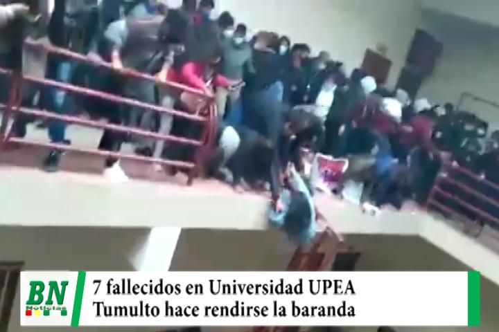 Lee más sobre el artículo Baranda se rinde y universitarios caen del 4to, piso de la UPEA, 7 estudiantes fallecen