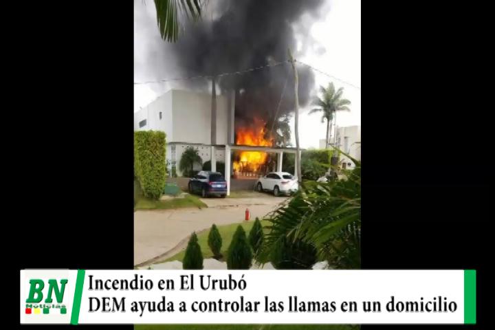Lee más sobre el artículo Incendio en un domicilio de El Urubó es controlado por bomberos del DEM y otros