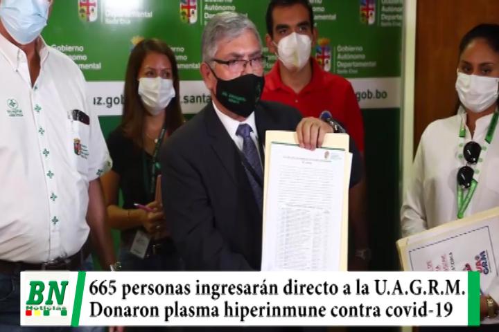 Lee más sobre el artículo Alerta coronavirus, 665 bachilleres que donaron plasma hiperinmune ingresarán directo a la Universidad Rene Moreno