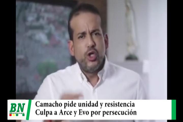 Lee más sobre el artículo Camacho pide unidad y resistencia, culpa a Arce y Evo por detenciones y persecución a opositores
