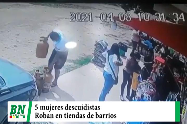 Lee más sobre el artículo Mujeres descuidan a vendedores de tiendas de barrios y roban artículos, cámaras graban el hecho