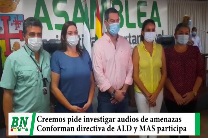 Lee más sobre el artículo Creemos pide investigar amenazas en audio del MAS, ALD elige directiva y Zvonko la preside