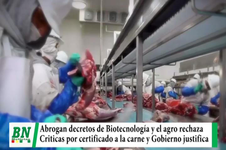 Lee más sobre el artículo Biotecnología y certificado para exportación de carne enfrenta al agro y el gobierno
