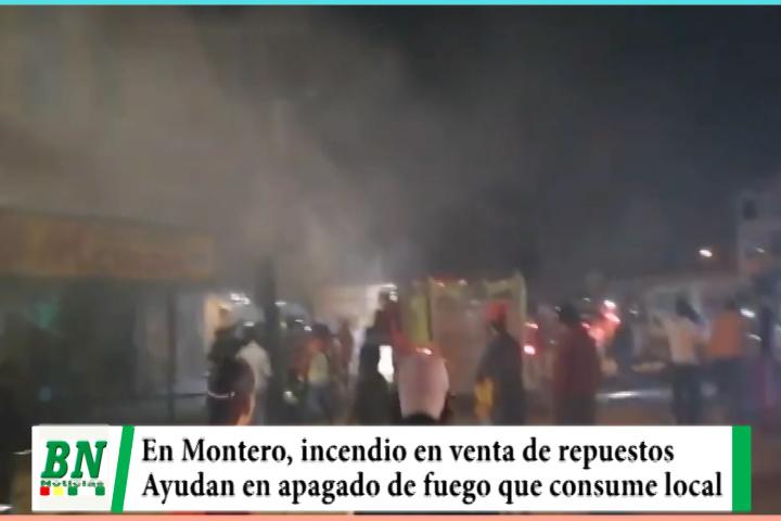 Lee más sobre el artículo En Montero se incendio local de venta de repuestos de moto y vecinos ayudan a apagar llamas