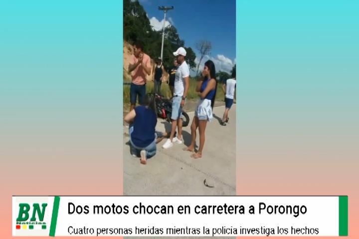 Lee más sobre el artículo Accidente de dos motos deja cuatro heridos en carretera a Porongo en zona Laguna Capiguara