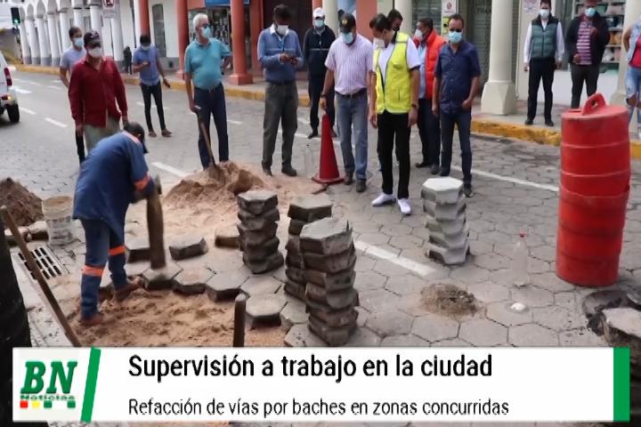 Lee más sobre el artículo Alcalde supervisa bacheo en la ciudad y llama la atención a Saguapac por problema en las calles