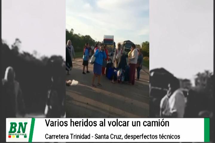 Lee más sobre el artículo Accidente en carretera Santa Cruz-Trinidad con varios heridos por aparente falla en la dirección