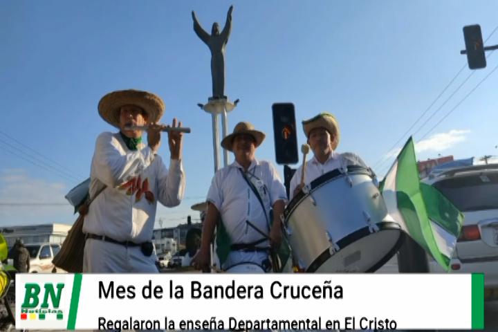Lee más sobre el artículo Bandera Cruceña en su mes es obsequiada en El cristo por cívicos e  instituciones