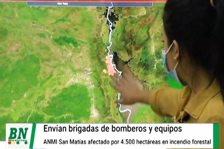 Lee más sobre el artículo Envían bomberos y equipos a ANMI San Matías para controlar el incendio forestal en la zona