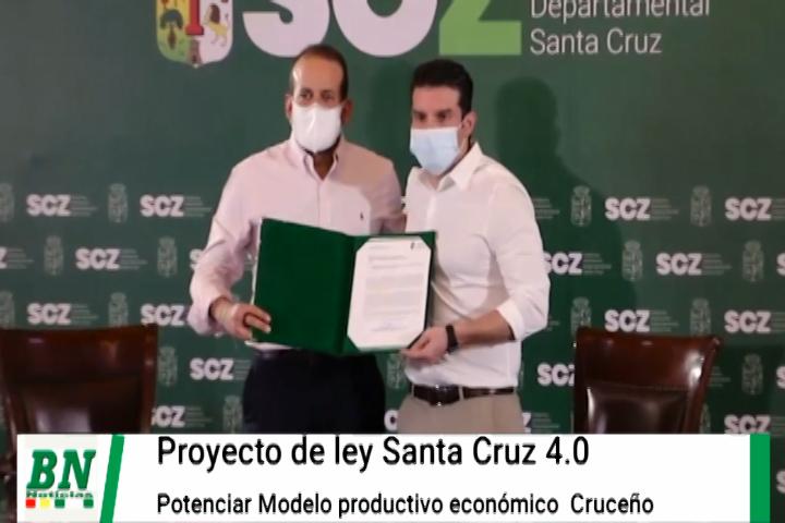 Lee más sobre el artículo Gobernador presenta proyecto de Ley Santa Cruz 4.0 que busca potenciar el modelo productivo y económico cruceño