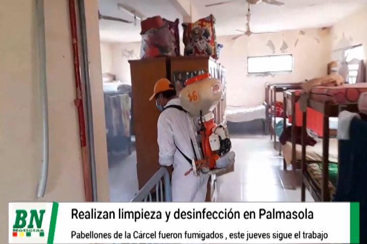 Lee más sobre el artículo Desinfectan, limpian y fumigan  pabellones del penal de Palmasola y trabajo seguirá este jueves