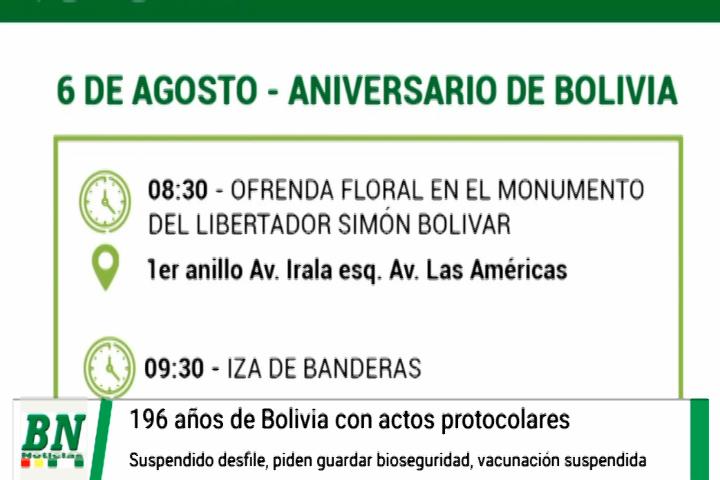 Lee más sobre el artículo Actos protocolares por el Día de la Independencia de Bolivia y sin desfile, vacunación se suspende