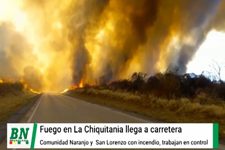 Lee más sobre el artículo Fuego llega a la carretera en la zona de El Naranjo y en San Lorenzo reducen las llamas