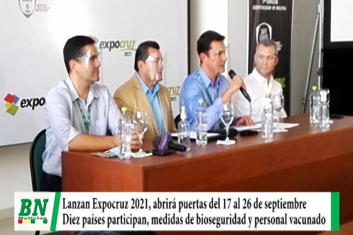 Lee más sobre el artículo Lanzan Expocruz 2021 y abrirá sus puertas del 17 al 26 de septiembre con un costo de entrada de 50 Bs para mayores y 25 para menores, diez países participarán