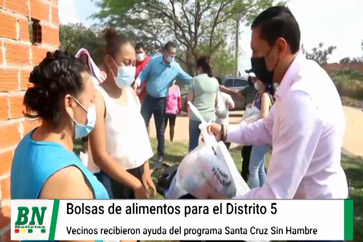 Lee más sobre el artículo Entregan bolsas solidarias a vecinos del Distrito 5 de la campaña Santa Cruz sin hambre