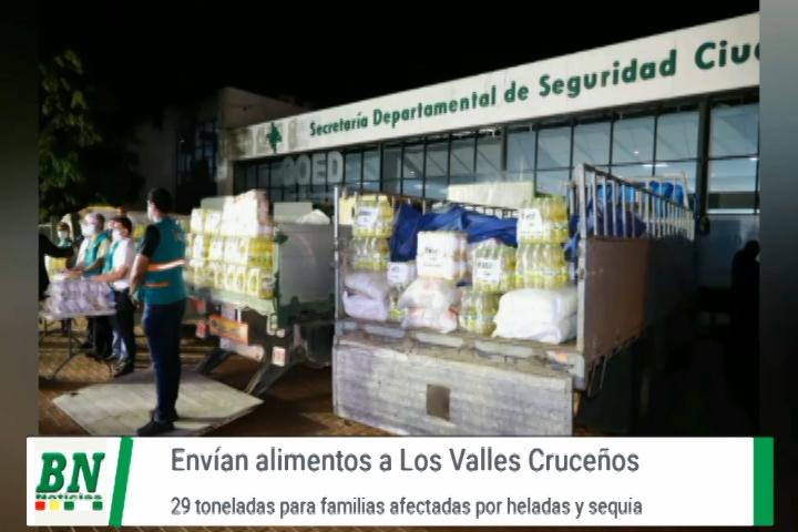 Lee más sobre el artículo Envían 29 Toneladas de alimenos para Los Valles Cruceños que fueron afectados por heladas y sequía