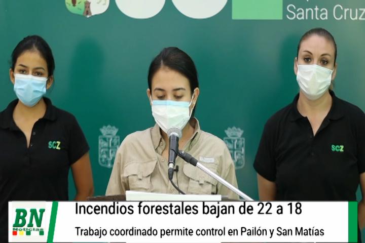 Lee más sobre el artículo Incendios forestales bajan de 22 a 18 y trabajo coordinado logra controlar el fuego en Pailón y San Matías