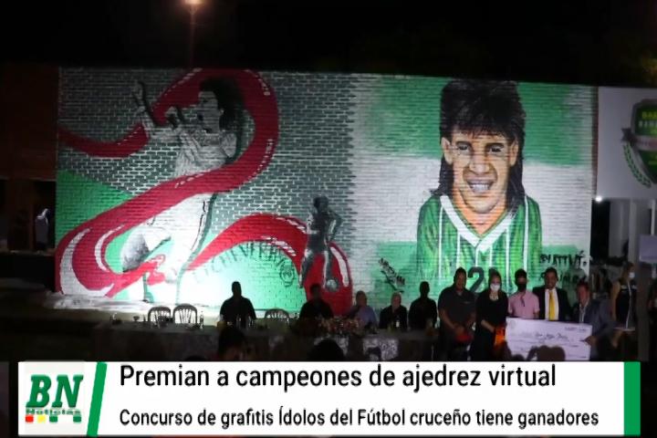 Lee más sobre el artículo Premian a ganadores de campeonato de ajedres virtual y dan a conocer a ganadores de concurso de grafitis Ídolos del fútbol cruceño